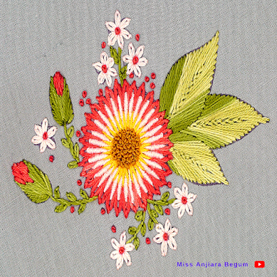 Hand embroidery flower stitching at home tutorial for beginners