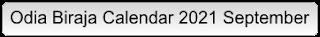 Odia Biraja Calendar 2021 September