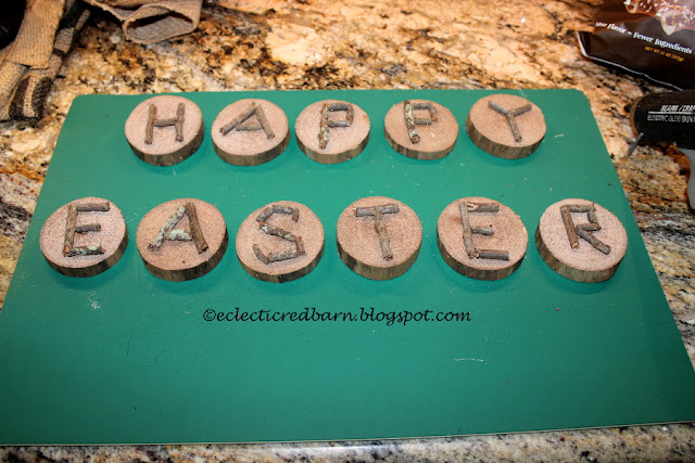 Eclectic Red Barn: Easter Wooden Letters after twigs had been glued