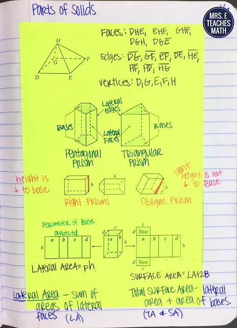 parts of prisms interactive notebook page