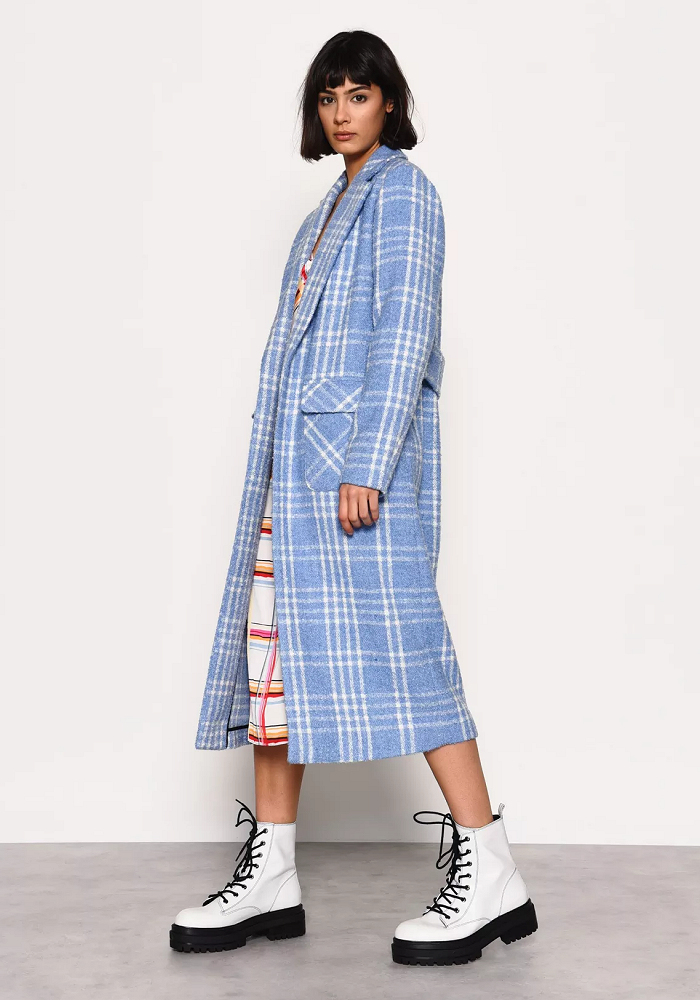 Blue and White Check Duster Coat by Glamorous