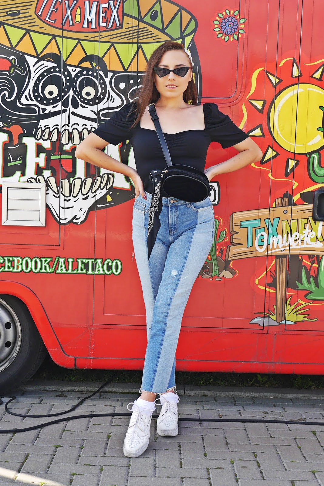 denim pants top puff ruffle slaves white platform shoes trangle sunglasses karyn fashion blogger