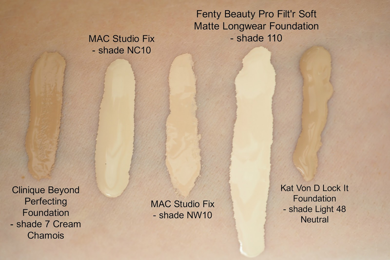 swatches of Fenty Beauty Pro Filt'r Foundation shade 110, MAC studio fix foundation NW10, MAC NC10, Kat Von D foundation 48 light neutral and clinique beyond perfecting foundation shade 7