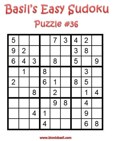 Basil's Easy Sudoku Puzzle #36 Brain Training with Cats ©BionicBasil® Downloadable Puzzle Fur Purrsonal Use Only