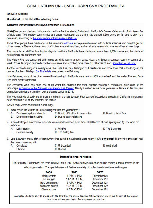 Soal Dan Jawaban Latihan Un Unbk Usbn Bahasa Inggris Sma Program Ipa Pendidikan Kewarganegaraan Pendidikan Kewarganegaraan