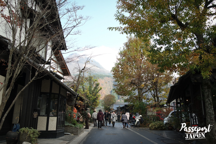 Rue commerçante bordée d'arbres, Yufuin, Oita