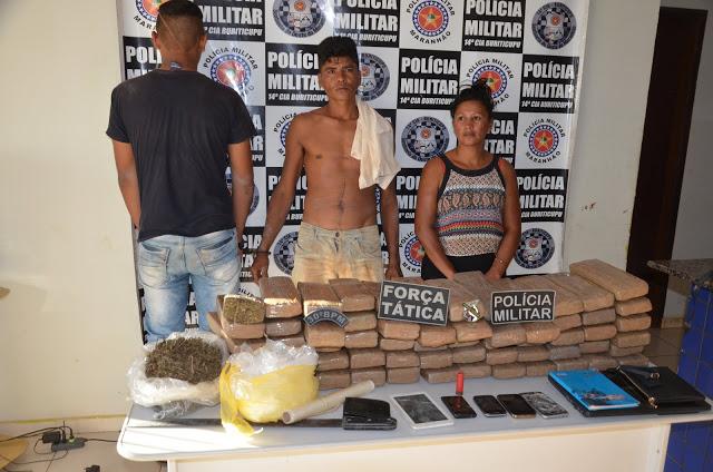 Polícia Militar apreende 60kg de maconha prensada em Buriticupu