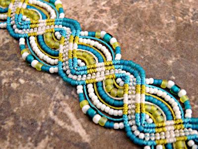 Micro macrame bracelet by Sherri Stokey of KnotJustMacrame.