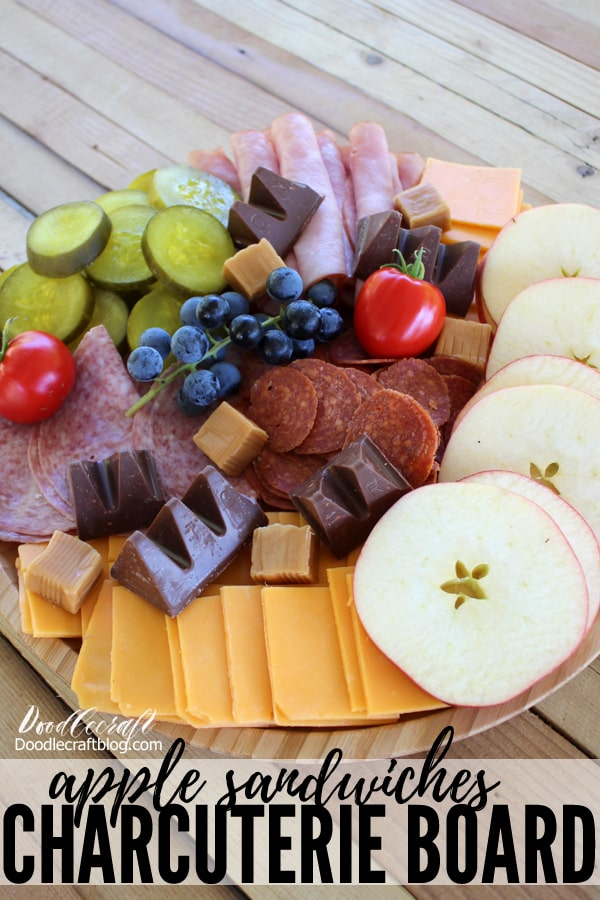 Charcuterie Board with Apple Sandwiches Harvest Meal Grazing Table