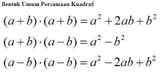 bentuk umum persamaan kuadrat