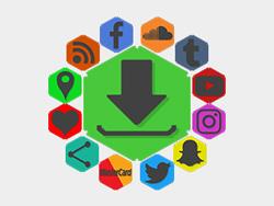 Black Detailed Hexagon Social Buttons