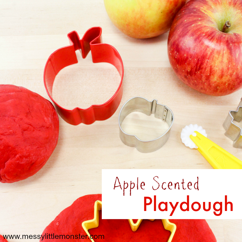 A homemade apple scented playdough recipe - Perfect for Autumn or an apple themed project! If you are looking for Autumn activities for toddlers and preschoolers this homemade playdough will definitely go down well!