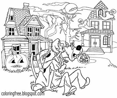 Printable Scooby Doo Coloring Haunted Ghost Town Monster Drawing