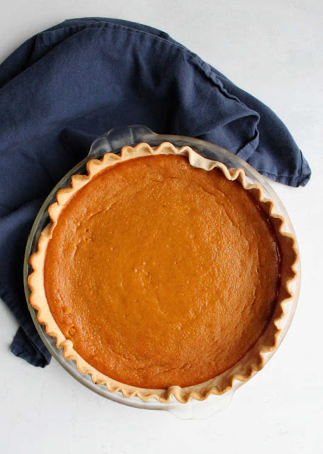 chilled sweetened condensed milk pumpkin pie ready to cut and serve