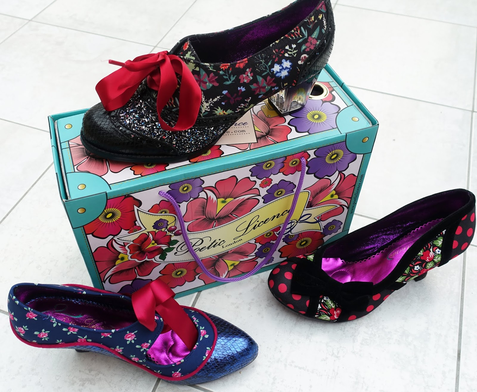 Colourful embellished and beribboned shoes by Poetic Licence from the collection of blogger Gail Hanlon from Is This Mutton
