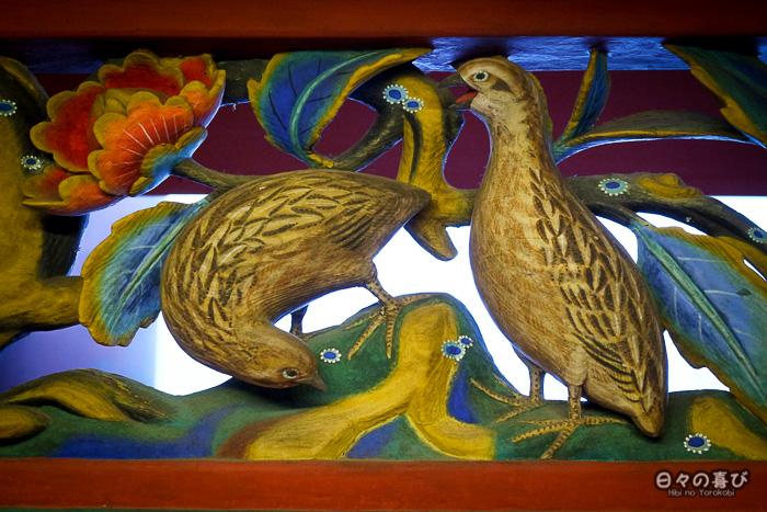 fresque sculptée, oiseaux, sanctuaire Iwashimizu Hachiman-gû, Yawata