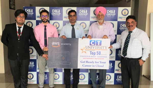 CT University Chancellor Charanjit S Channi, MD Manbir Singh and Vice Chancellor Dr. Harsh Sadawarti during MoU with AWS Academy