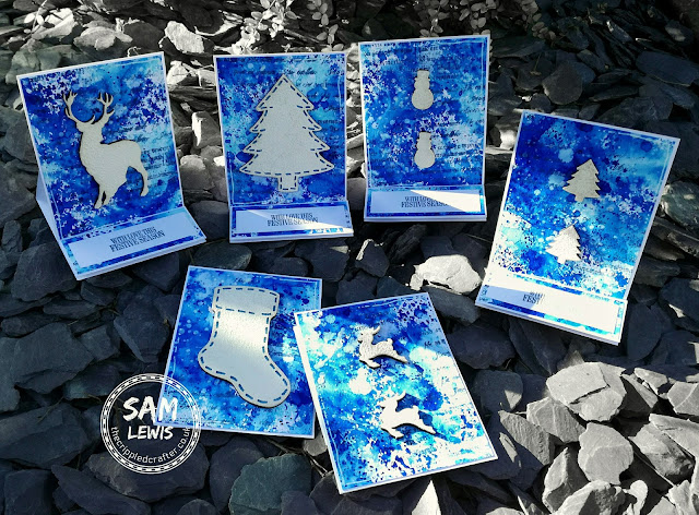 Christmas Cards by Sam Lewis AKA The Crippled Crafter | MDF Christmas Embellishments | Aqua Markers by Spectrum Noir