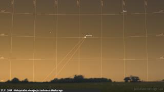 27.11.2019 - maksymalna elongacja zachodnia Merkurego