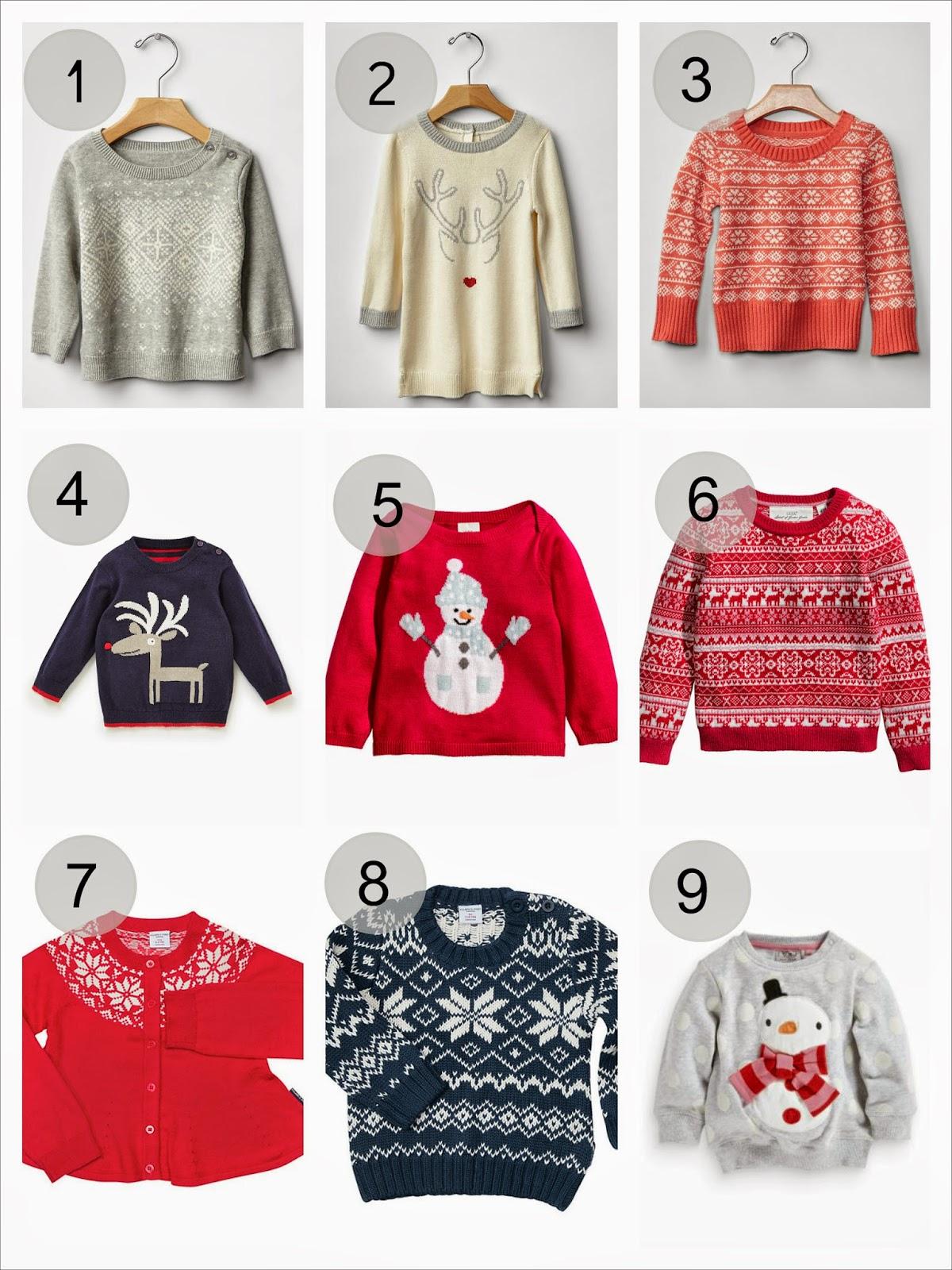 eb459629ec4a Coral fair isle sweater: Gap / 4. Reindeer jumper: M&S / 5. Snowman jumper:  H&M / 6. Red reindeer motive jumper: H&M / 7. Girl's Christmas cardi: PoP /  8.
