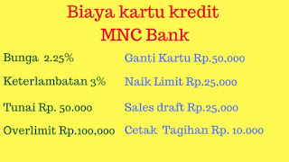 Jenis Biaya Kartu Kredit MNC Bank