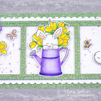 Inky Paws Challenge Color Challenge - Hop Into Spring stamp and die set, Bitty Bunnies stamp and die set, Woodland Spring stamp and die set, Slimline Frames and Portholes die set, Slimline Frames and Windows die set by Newton's Nook Designs #newtonsnook #handmade
