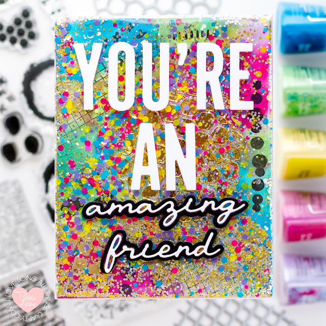 #tonicstudios,#tonicstudiosstampclub,#tonicstudiosusa, Patterns & Prints, Mixed Media Cards,  Stamp Club Release, Tonic Studios,Shimmer Powders,Card Making, Stamping, Die Cutting, handmade card, ilovedoingallthingscrafty, Stamps, how to,