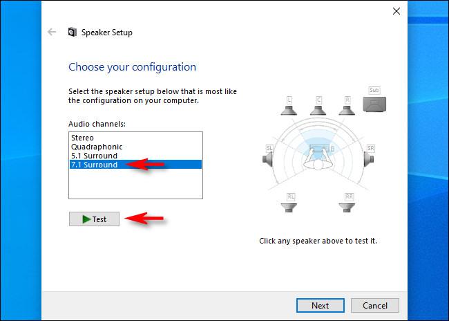 """في إعداد مكبر الصوت لنظام التشغيل Windows 10 ، حدد القنوات الصوتية وانقر فوق """"اختبار""""."""