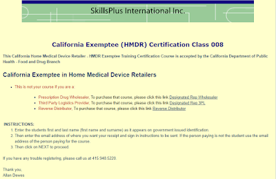 California HMDR Exemptee online training certification class. Earns a course completion certificate accepted by the California Department of Public Health - Food and Drug Branch. $525 per student. The smart choice!