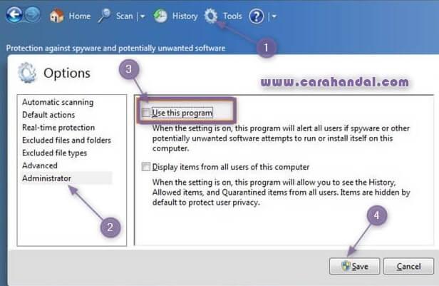 Mematikan Windows Defender di Widows 7