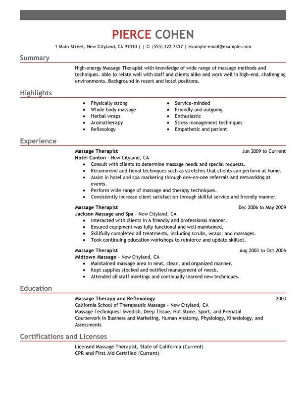 Massage Therapist Resume Sample Sample Resumes