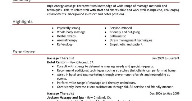 ... Massage Therapist Resume Sample Sample Resumes   Massage Therapist  Resumes ...