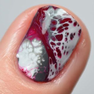 white fluid art nail polish