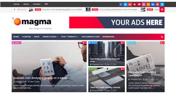 تحميل  قالب Magma أفضل قالب اجنبي لمدونات بلوجر