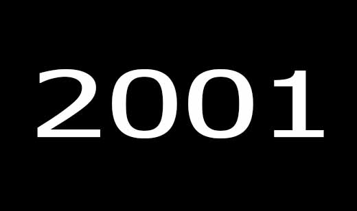 "A black background with an inscription ""2001"" in white"