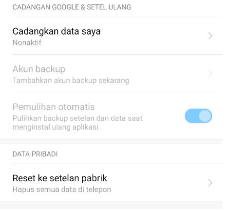 Reset Ulang Android