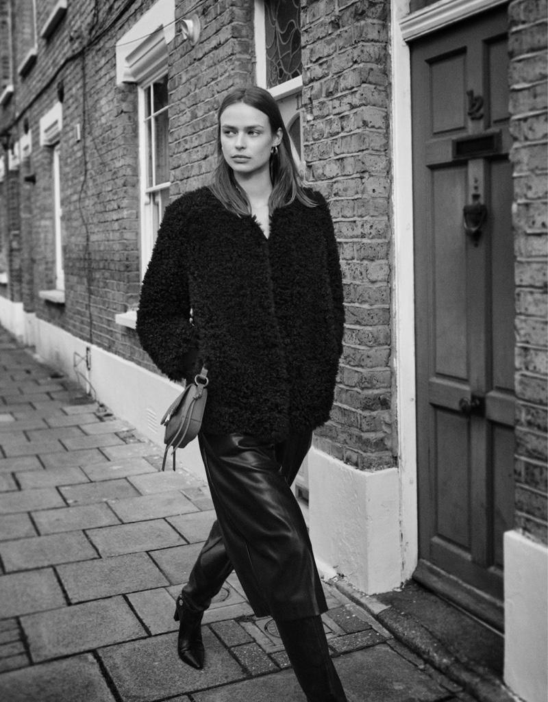 Birgit Kos models Mango's 1970's inspired styles