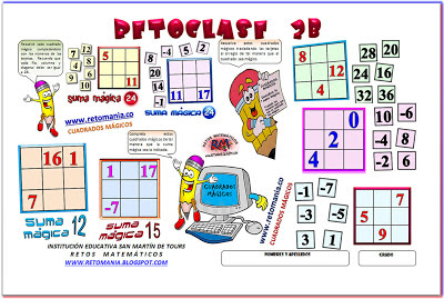 Retos Matemáticos, Desafíos Matemáticos, Problemas de lógica, Problemas para pensar, Cuadrados Mágicos, Retos Matemáticos con Solución