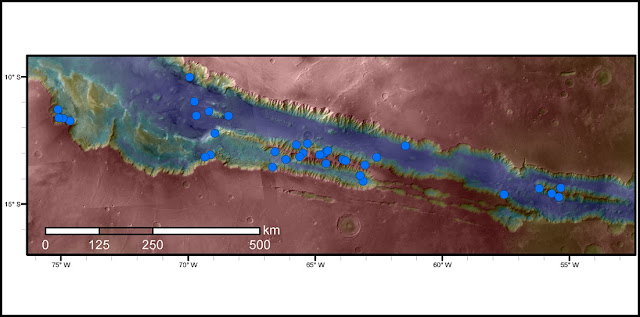 Blue dots on this map indicate sites of recurring slope lineae (RSL) in part of the Valles Marineris canyon network on Mars. RSL are seasonal dark streaks that may be indicators of liquid water. The area mapped here has the highest density of known RSL on Mars. Credits: NASA/JPL-Caltech/Univ. of Arizona