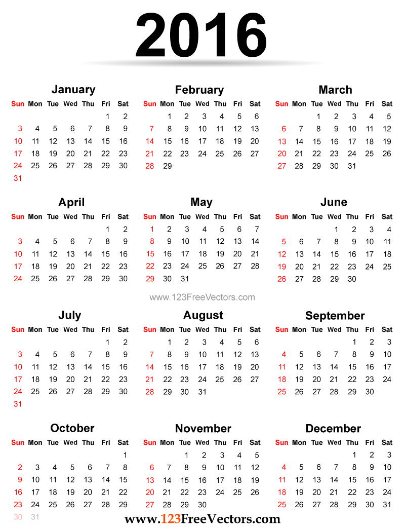 Yearly calendar 2016 to print HD