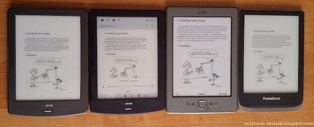 InkBOOK LUMOS, InkBOOK Classic 2, PocketBook Touch HD 3, Kindle 4 – porównanie ekranów