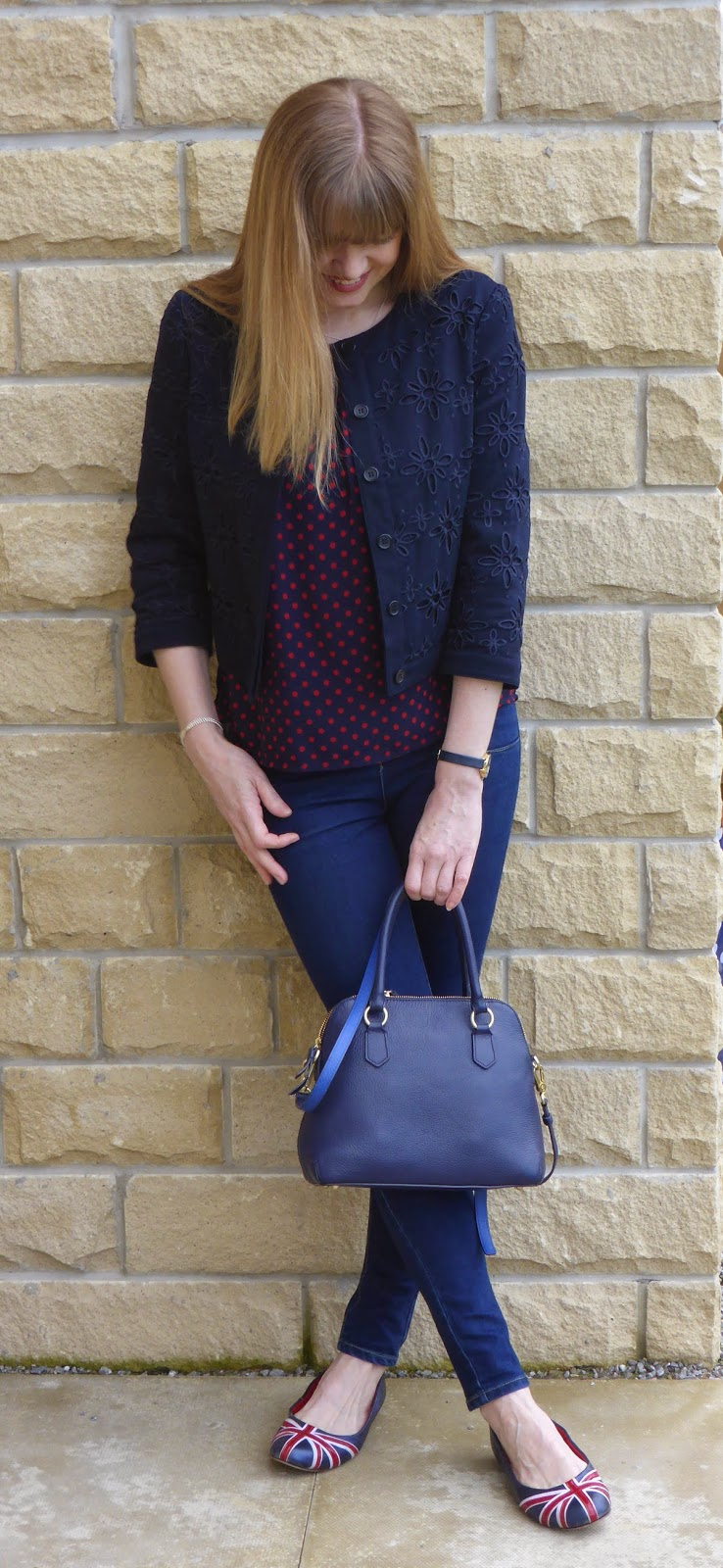 Navy and red spotted top, navy broderie jacket, union jack shoes