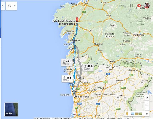 Mapa do Caminho Português de Santiago