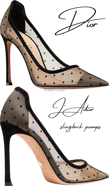Black tulle polka dots Dior J'Adior slingback pumps #brilliantluxury