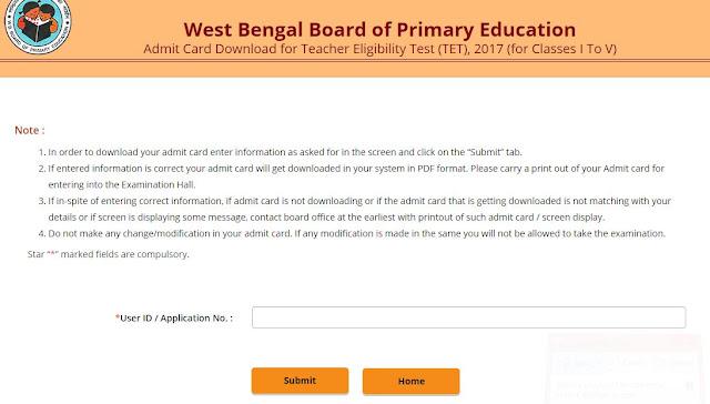 West Bengal TET Admit card download