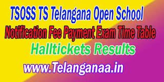 TSOSS Telangana Open School Inter Admission Notification Fee Payment Exam TimeTable Hall Tickets Results