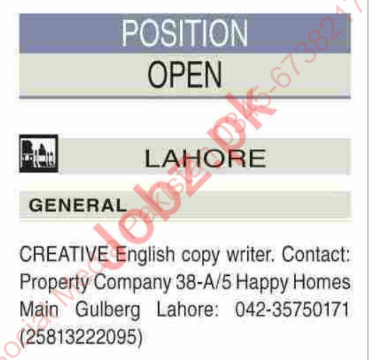 General Copy Writer Jobs in Lahore 2021