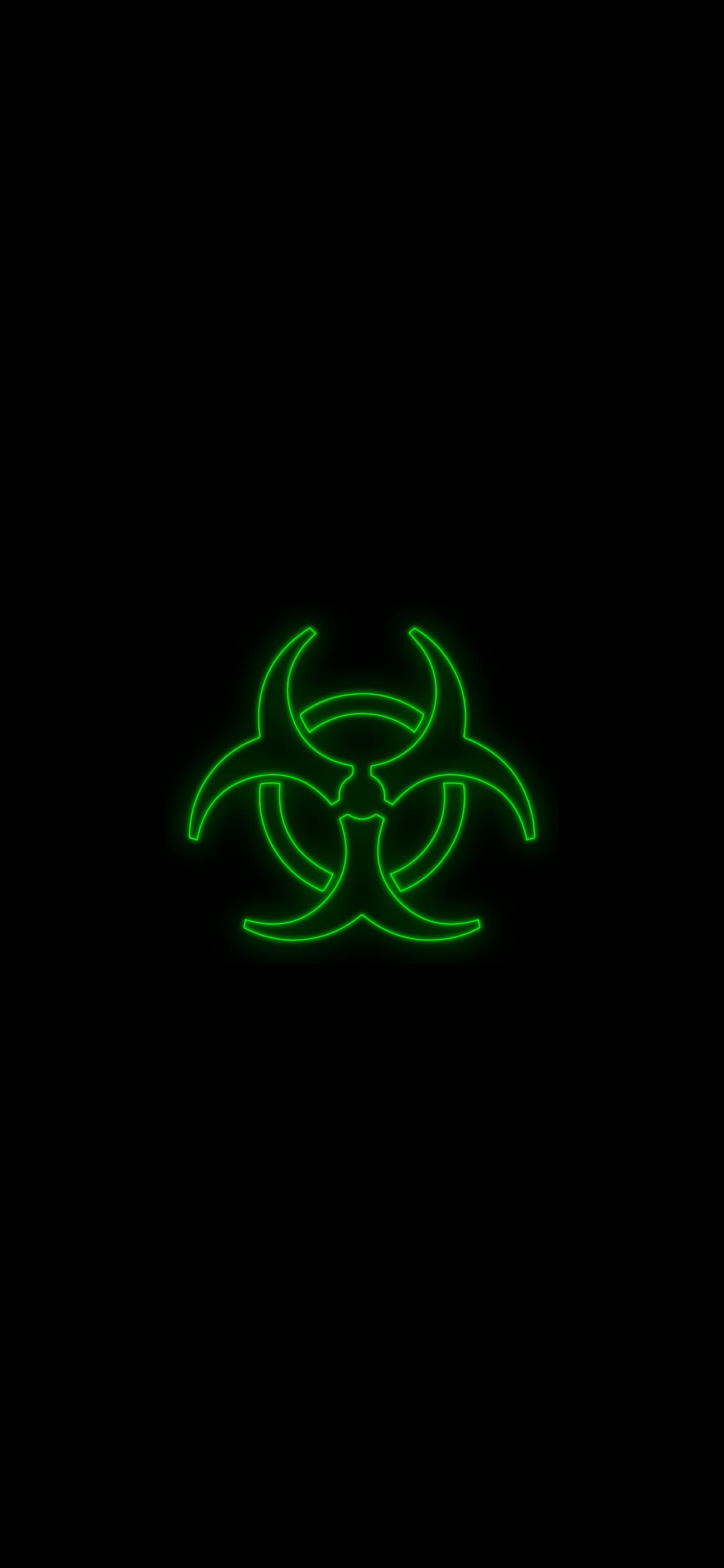 neon biohazard symbol green