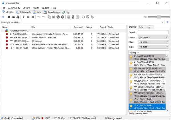StreamWriter cho phép bạn ghi lại nội dung từ các đài phát thanh internet