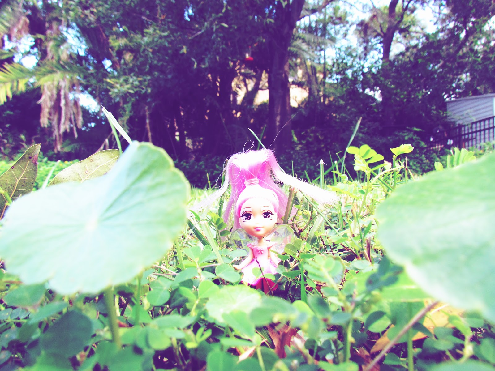 A cute plastic fairy doll in the grass with clovers and pink hair